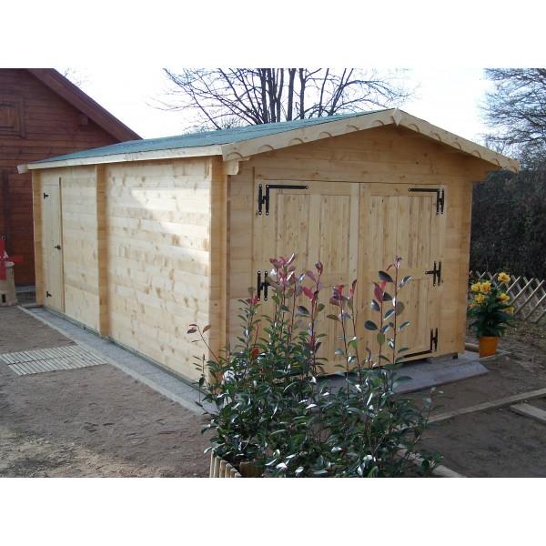 Garage en bois 42mm 19m montage disponible for Votre garage bois