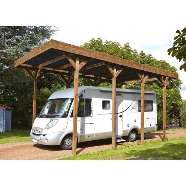 Carport en bois madeira camping car 32 40m for Garage pour camping car en bois
