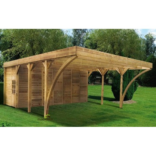 carport double en bois madeira aymar 42 11m 2 voitures. Black Bedroom Furniture Sets. Home Design Ideas